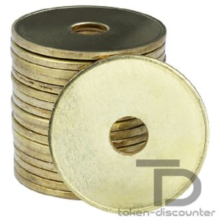 Token like 1 Euro Coin, punched, 100 pieces